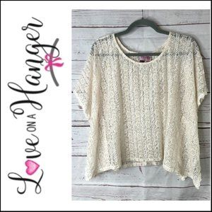 Love on a Hanger Creme Crochet Lace Pullover Top